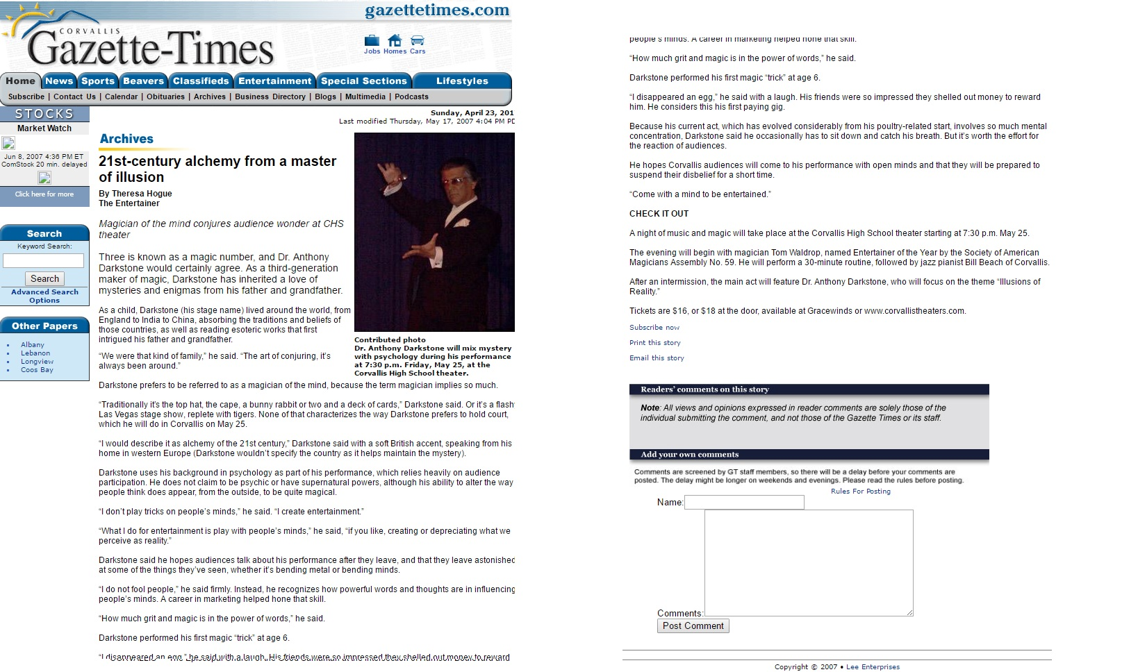 Gazette Times Anthony Darkstone