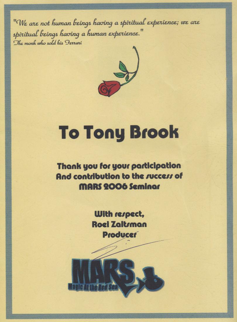 Mars 2006 Seminar Certificate Anthony Darkstone