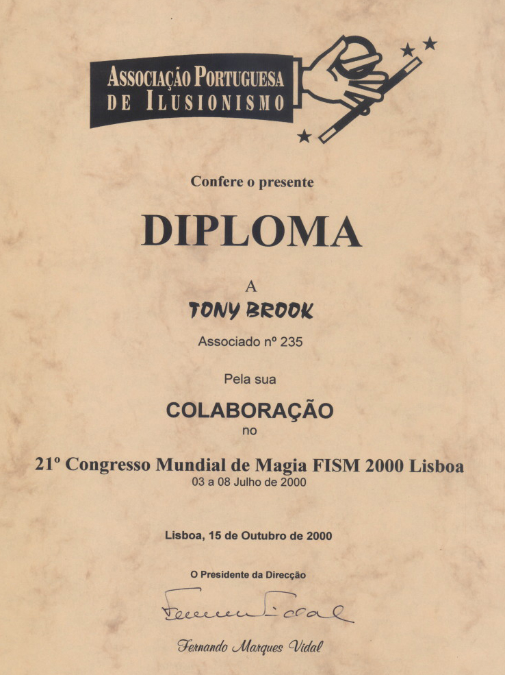 Associacao Portugesa De Ilusionismo Diploma