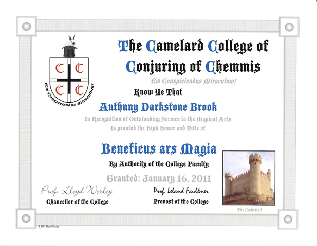 The Camelard College of Conjuring Chemmis Anthony Darkstone Brook