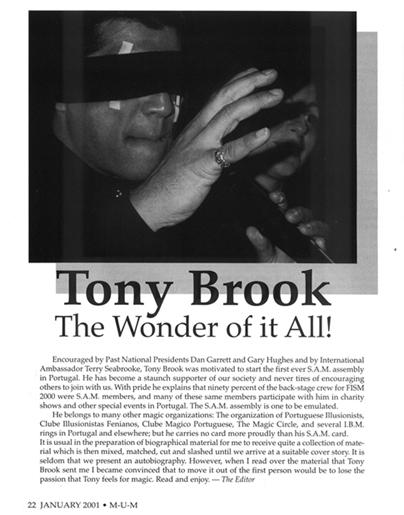 Tony Brook Wonder of it All Mum Magazine