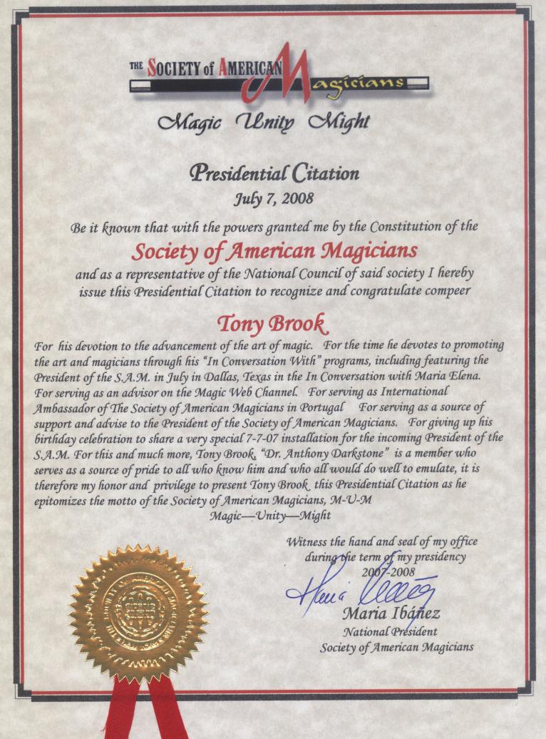 Presidential Citation Tony Brook