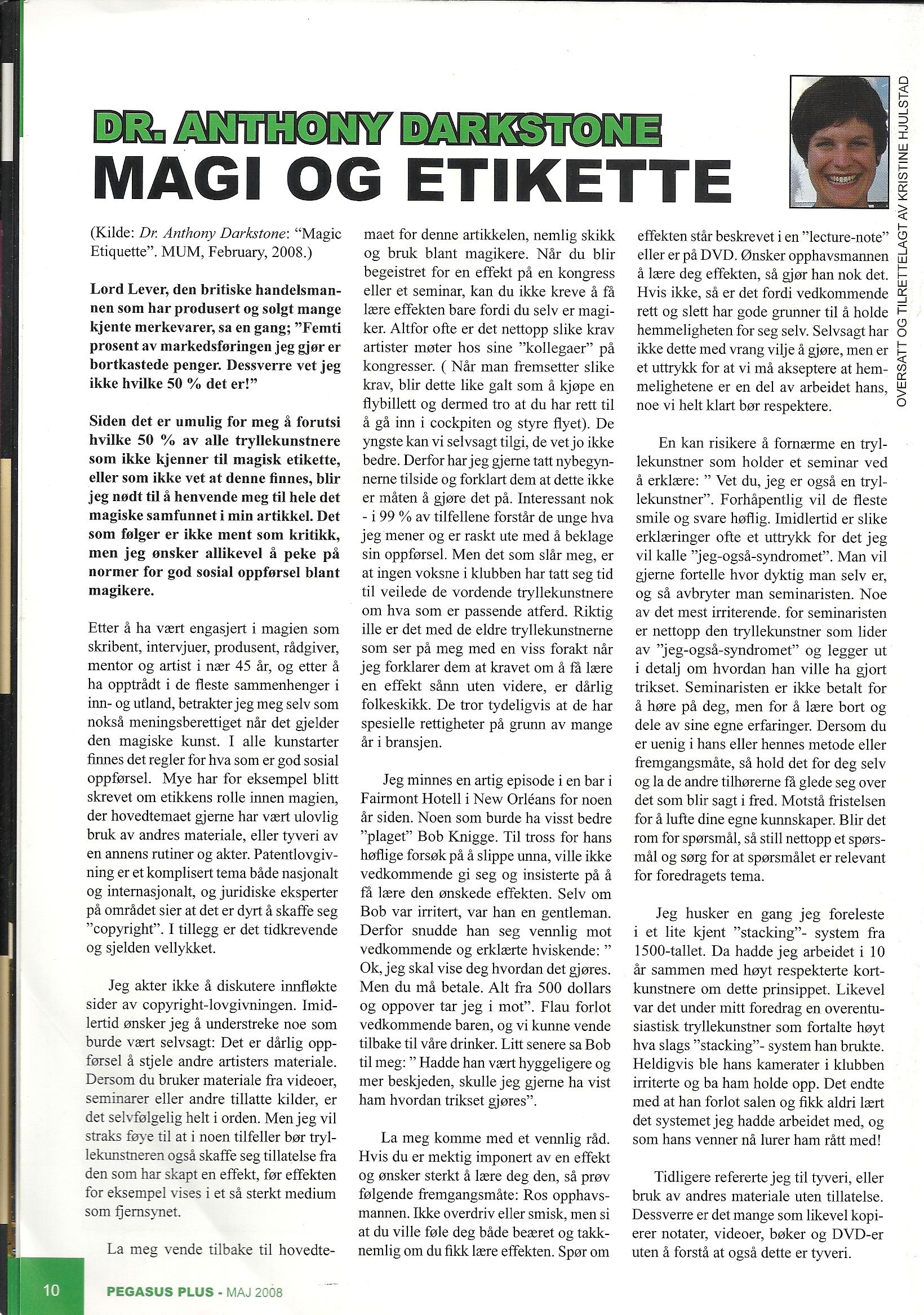 Pegasus Magic Magazine May 2008 Dr Anthony Darstone