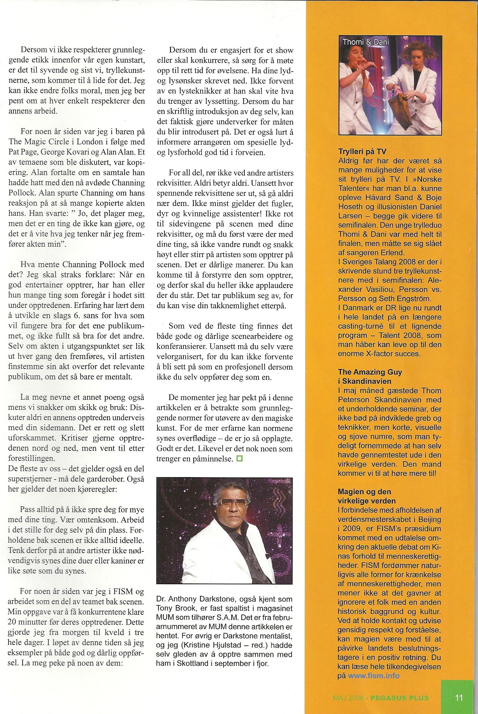 Pegasus Magic Magazine May 2008 Dr Anthony Darstone prt 2