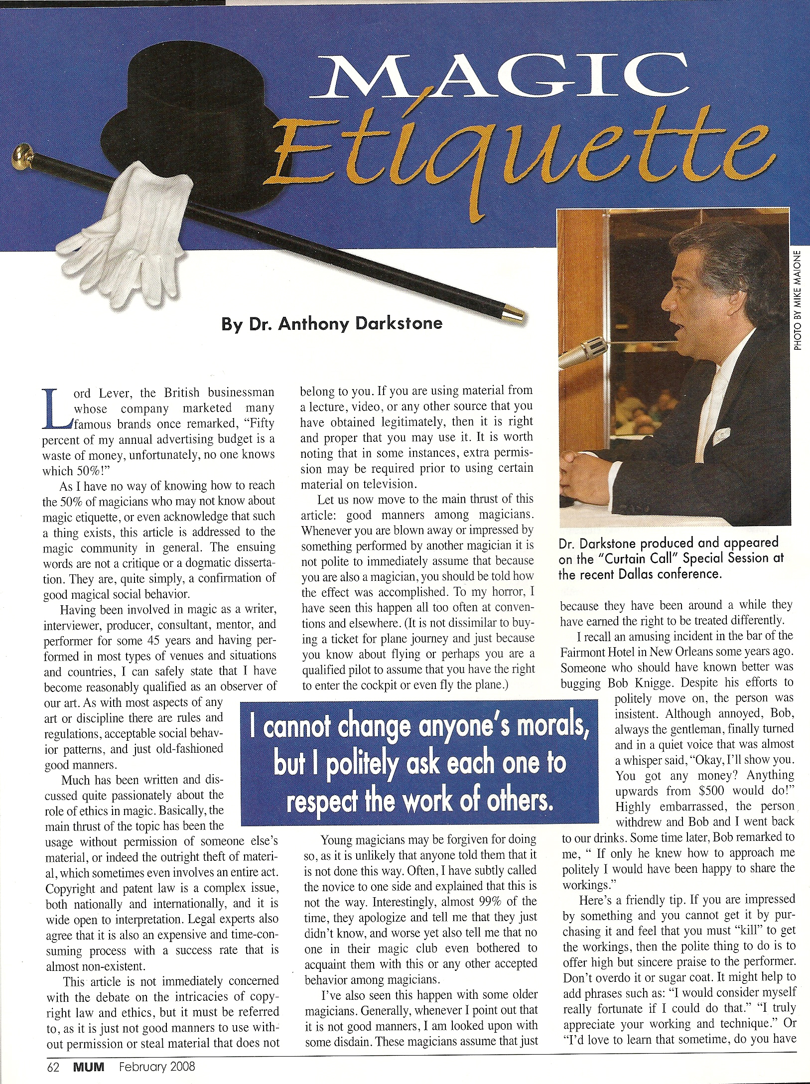 MUM Magazine Feb 2008 Magic Eriquette by Dr Anthony Darkstone