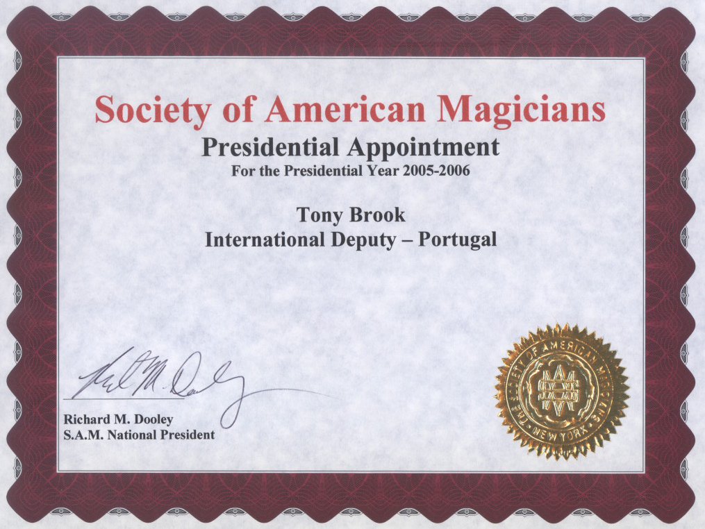 Society of American Magicians Presidential Appointment Anthony Darkstone