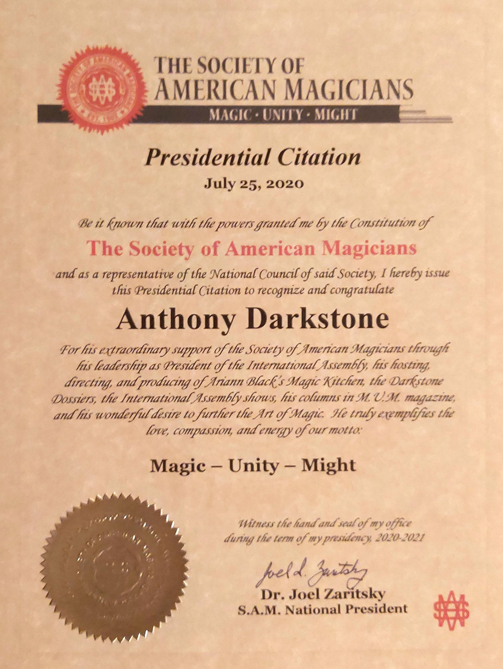 SAM Presidential Citation Anthony Darkstone